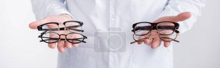 Photo pour Vue recadrée de l'ophtalmologiste montrant des paires de lunettes sur des paumes isolées sur blanc, bannière - image libre de droit