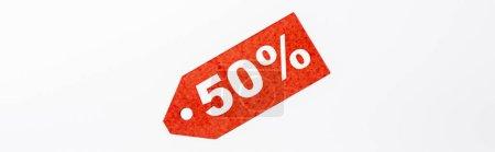 Photo pour Récolte panoramique de l'étiquette de prix rouge avec 50 pour cent de signes sur fond blanc - image libre de droit