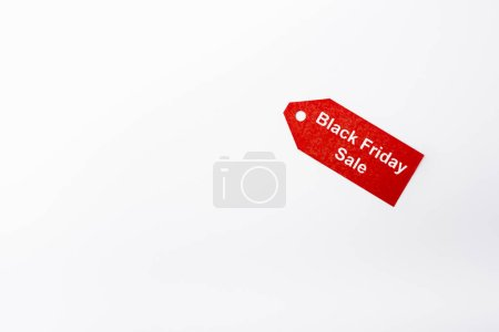Photo for Top view of price tag with black friday sale lettering on white background - Royalty Free Image