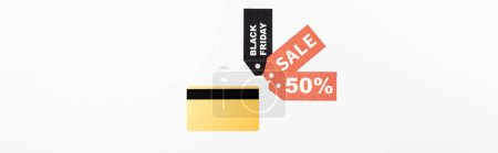 Photo for Website header of credit card and price tags with sale and black friday lettering on white background - Royalty Free Image
