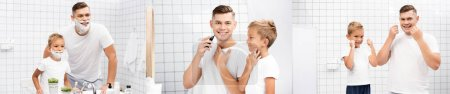 Collage of father with shaving foam standing near son, shaving with electric razor, using dental floss in bathroom, banner