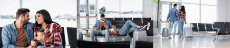 Photo pour Collage de heureuse femme afro-américaine couchée près de l'homme barbu, tenant du café pour aller et marchant avec des bagages dans le salon de départ - image libre de droit