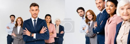 Collage of smiling multiethnic businesspeople with crossed arms looking at camera isolated on grey, banner