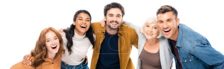 Photo pour Multiethnic people smiling at camera and embracing isolated on white, banner - image libre de droit
