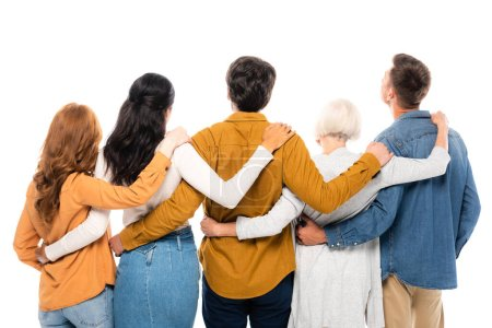 Photo for Back view of multiethnic people hugging isolated on white - Royalty Free Image