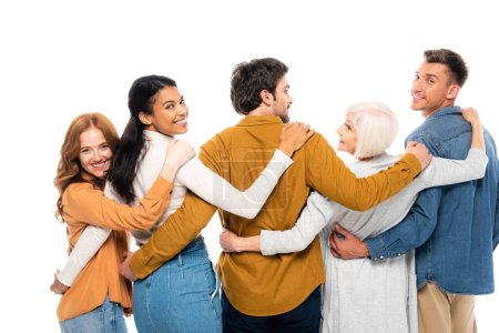 Photo pour Multiethnic people smiling at camera while embracing isolated on white - image libre de droit