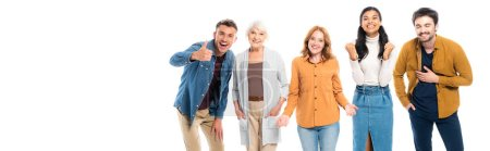 Cheerful multiethnic people gesturing isolated on white, banner