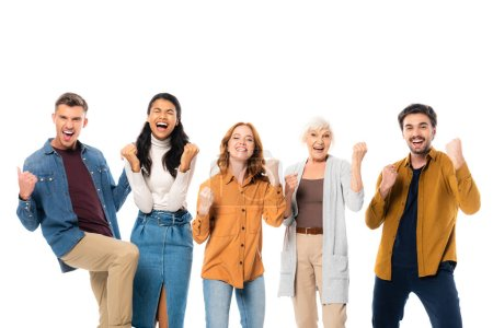 Excited multicultural people showing yeah gesture isolated on white