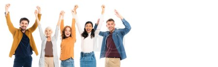 Photo for Multicultural people smiling while showing yeah gesture isolated on white, banner - Royalty Free Image