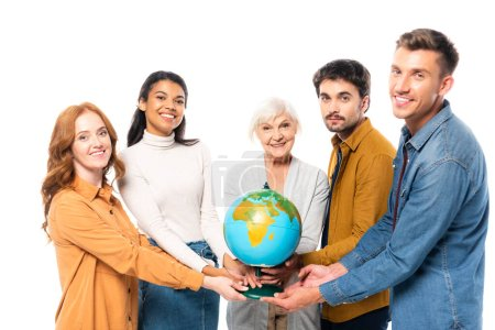Photo for Smiling multiethnic friends holding globe isolated on white - Royalty Free Image