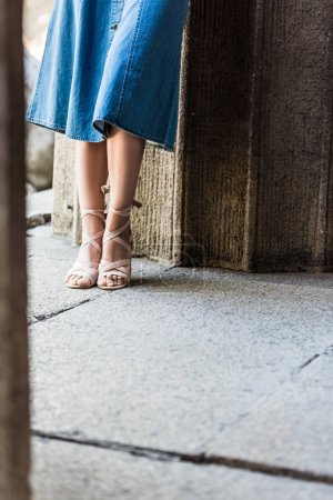 cropped shot of woman in denim skirt and stylish shoes on street
