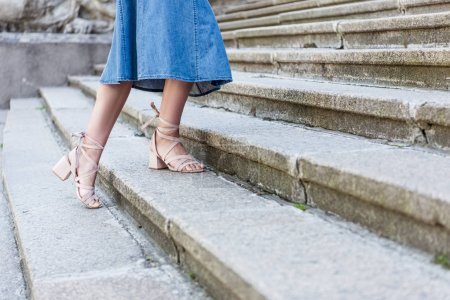 cropped shot of woman in denim skirt and fashionable shoes standing on steps on street