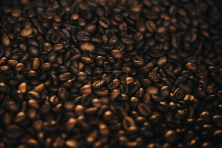 Texture of coffee beans in process of roasting