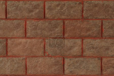 close-up view of brown brick wall textured background