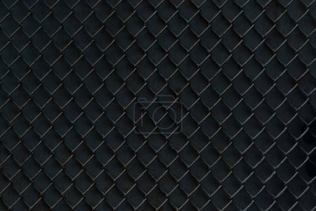 Photo for Metal fence on black background, full frame view - Royalty Free Image