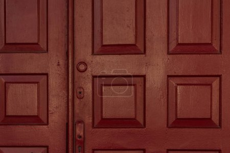 Photo for Old dark brown wooden doors background - Royalty Free Image