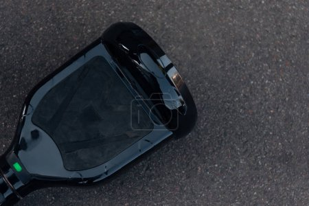 top view of black self-balancing board on street