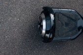 top view of black self-balancing scooter on street