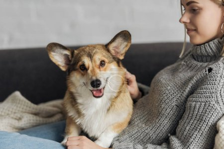 smiling young woman relaxing on couch with her corgi dog