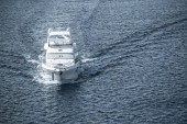 aerial view of white ship sailing on blue sea