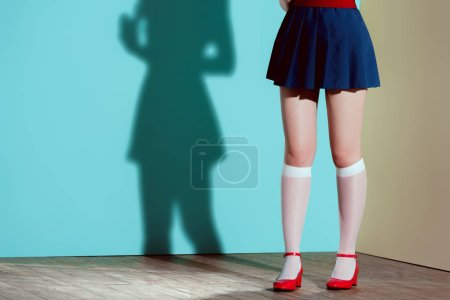 cropped shot of girl in red shoes, stockings and skirt posing in studio