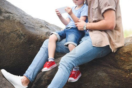 cropped image of father and son using smartphone on stones at park