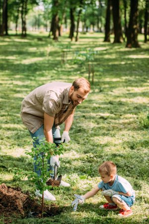 happy father and son planting tree with shovel at park