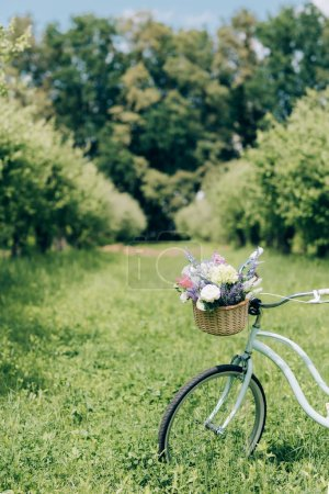 selective focus of retro bicycle with wicker basket full of flowers at countryside