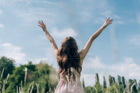 back view of woman in stylish dress with outstretched arms standing in meadow with blue sky on background