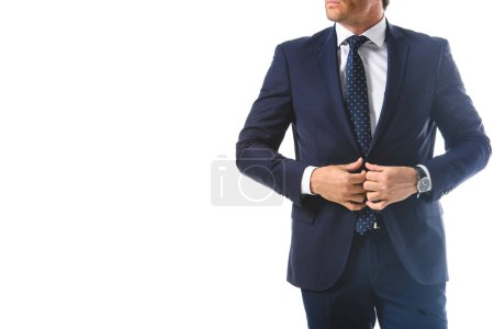 cropped image of businessman adjusting jacket isolated on white background