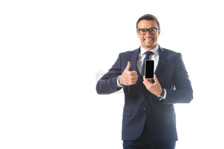 businessman holding smartphone with blank screen and doing thumb up gesture isolated on white background
