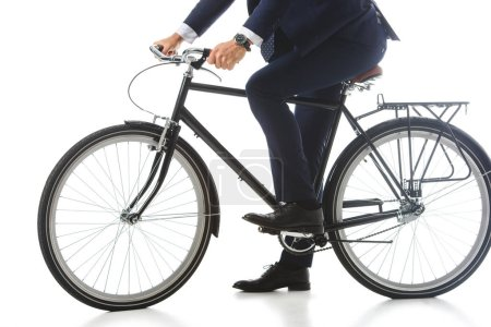 cropped image of businessman sitting on bicycle isolated on white background