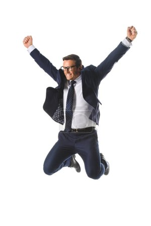 excited businessman in eyeglasses jumping with raised wide arms isolated on white background
