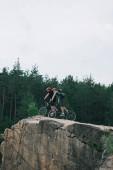 Vue éloignée de mâles cyclistes extrêmes dans les casques d'équitation sur des bicyclettes de montagne sur une falaise rocheuse en forêt