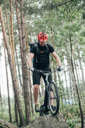 front view of male extreme cyclist in protective helmet doing stunt on mountain bicycle in forest