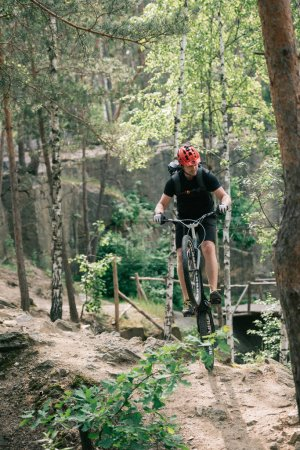 male extreme cyclist in protective helmet balancing on back wheel of mountain bicycle in forest