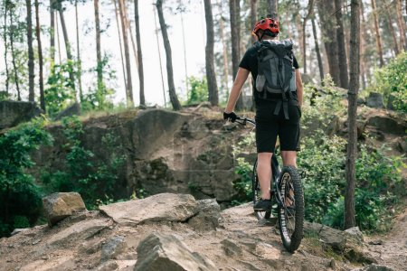 rear view of male extreme cyclist in protective helmet riding on bmx in forest