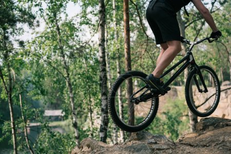 cropped image of male extreme cyclist jumping on mountain bike in forest