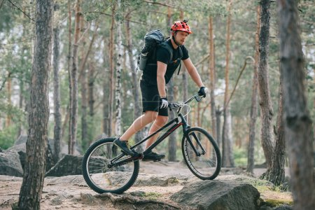 young male extreme cyclist in protective helmet riding on mountain bicycle in forest