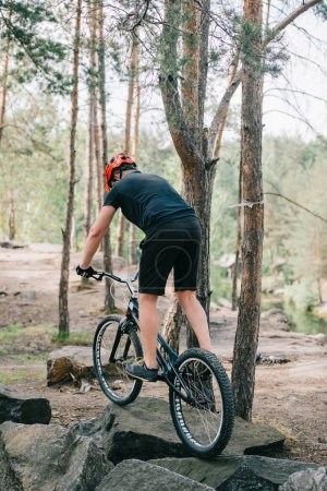 rear view of male trial biker in protective helmet riding on mountain bicycle on stones in forest