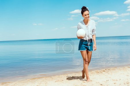 happy african american woman holding