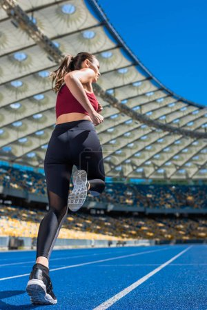 bottom view of sportive young woman running on track at sports stadium