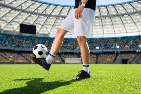 cropped shot of soccer player bouncing ball at sports stadium