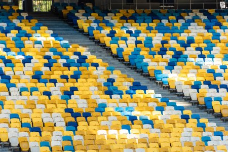 empty colorful stadium tribunes with stairs