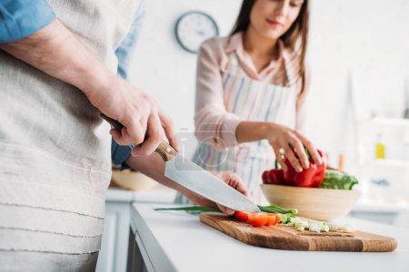 Photo pour Image recadrée de petit ami coupant des légumes et petite amie prenant poivron dans la cuisine - image libre de droit