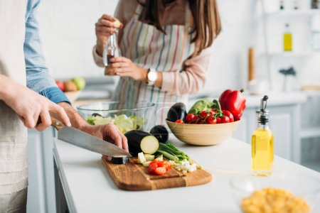 cropped image of boyfriend cutting ingredients and girlfriend adding spices to salad in kitchen