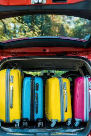 colored wheeled bags in car trunk