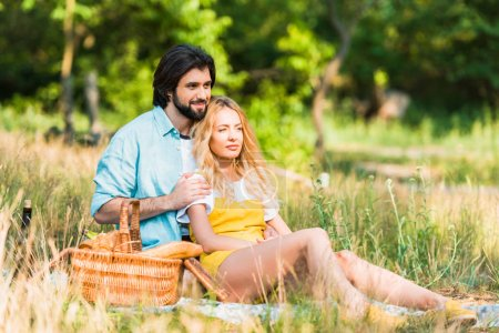 affectionate couple hugging and sitting on grass at picnic