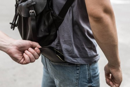 cropped view of robbery pickpocketing wallet with money