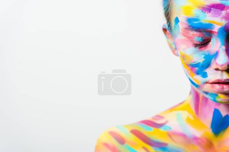 cropped image of attractive girl with colorful bright body art and closed eyes isolated on white